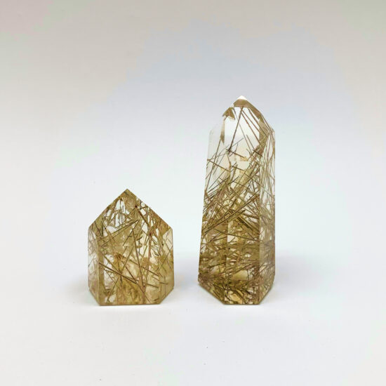 Natural Citrine with Rutile Polished Points
