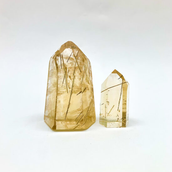 Natural Citrine with Rutile Polished Points – High Grade