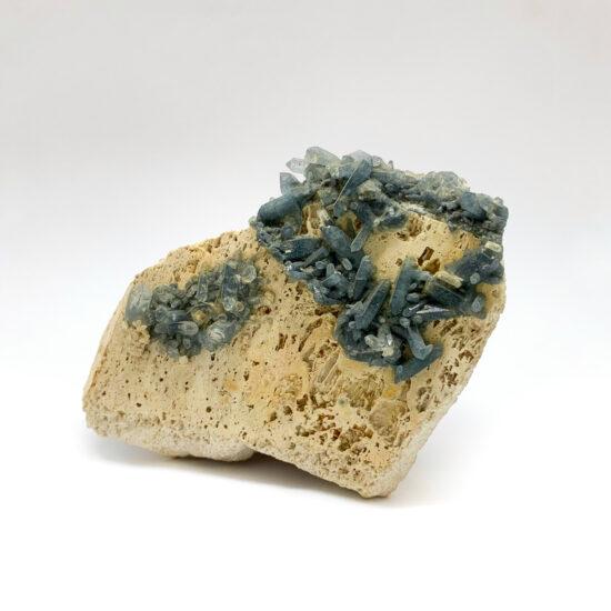 Blue Tourmaline on Quartz Cluster
