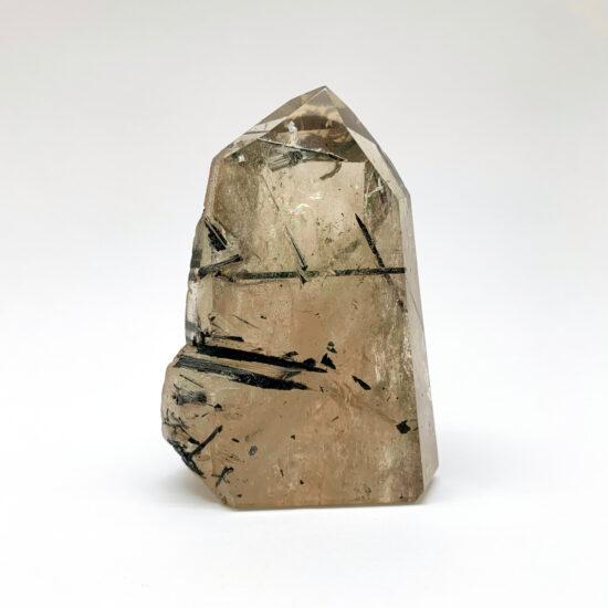 Smoky Quartz Semi-Polished Point with Black Tourmaline
