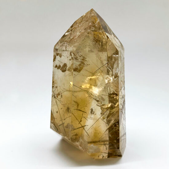 Natural Citrine Polished Point with Rutile