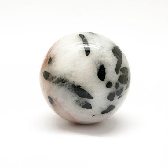 Black Tourmaline on Quartz Spheres
