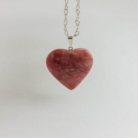 Guava Quartz Heart Pendants